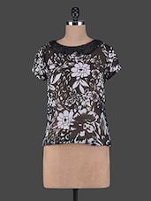 Floral Printed Short Sleeves Georgette Top - Aussehen