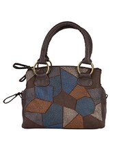 Color Block Pattern Leatherette Handbag - Baggit