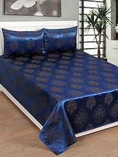 navy blue jacquard double bed cover with two pillow covers -  online shopping for bed covers