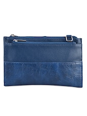 Blue Solid Leatherette Sling Bag - Baggit