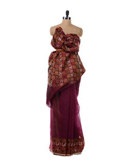Purple And Orange Floral Saree - Bunkar