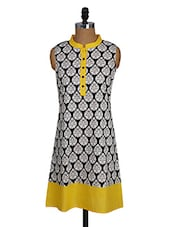 Sleeveless Mandarin Collar Printed Cotton Kurta - NAMAKH