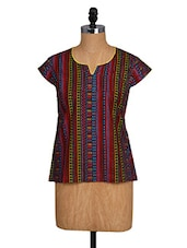 Short Sleeves Multicoloured Printed Cotton Top - NAMAKH
