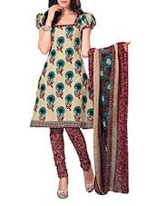 Floral Print Cotton Unstitched Suit Set - Ethnic Vibe