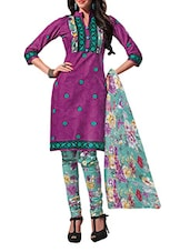 Floral Print Salwar & Dupatta Unstitched Suit Set - Ethnic Vibe