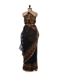 Black Saree With Floral Border And Pallu - Bunkar