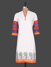 Tribal Printed White Cotton Kurta - Naksh Jaipur
