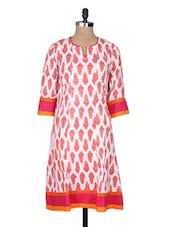 White Cotton Printed Three Quarter Sleeved Regular Kurta - By