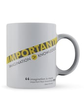 """Imagination ���.Knowledge"" - Einstein Quote Ceramic Mug - Lab No. 4 - The Quotography Department"