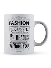 """Fashion...About Labels"" Quote Ceramic Mug - Lab No. 4 - The Quotography Department"