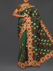 Bottle Green Embroidered Malai Silk Saree - Especially For You