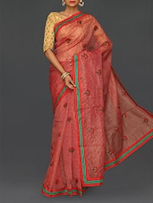 Floral Embroidered Cotton Net Saree - Finger Cross