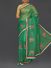 Green Floral Embroidered Cotton Net Saree - Finger Cross