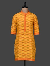 Quarter Sleeves Mandarin Collar Printed Cotton Kurta - PANIT