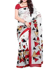 Geometric Print Art Silk Saree - DIVA FASHION