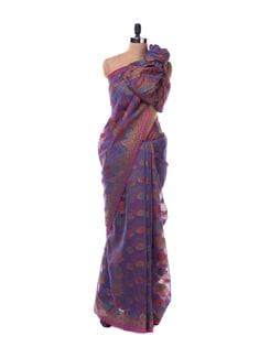 Blue And Pink Floral Saree - Bunkar