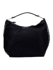 Embellished Side Solid Beige Faux Leather Handbag - Elespry