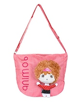Soft Toy Girl Embellished Pink Polka Sling Bag - Alonzo