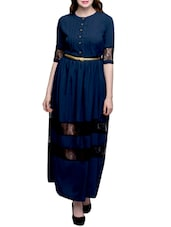 blue crepe maxi dress -  online shopping for Dresses