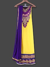 Embroidered Semi-stitched Yellow Anarkali Suit - Manvaa
