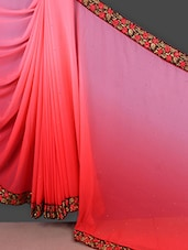 Peach Georgette Saree With Embroidered Border - Manvaa