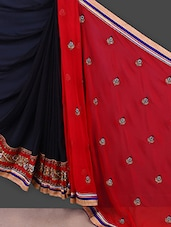 Red And Black Georgette Saree - Manvaa