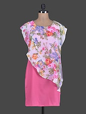 Pink Printed Poly Crepe And Poly Georgette Dress - Meiro