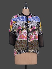 Multicolour Printed Poly Georgette Shirt Top - Meiro