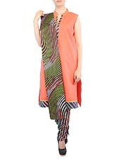 Sleeveless Wavy Stripes Printed Cotton Suit Set - Salwar Studio