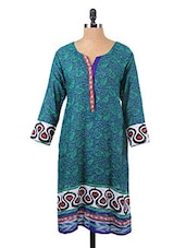 Paisley Printed Three Quarter Sleeve Kurta - Salwar Studio