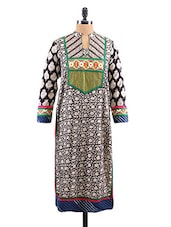 Block Printed Long Sleeves Cotton Kurta - Salwar Studio - 1129256