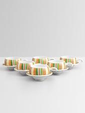 Stripe Print Pattern Half Handle Tea Cup Set - Clay Craft