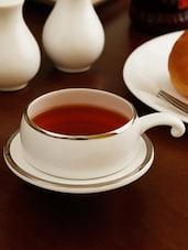 Silver Border Half Handle Solid Color Tea Cup Set - Clay Craft
