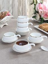 Solid Color Gold Border Half Handle Tea Cup Set - By