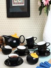 Solid Black Color Tea Cup Set - Clay Craft