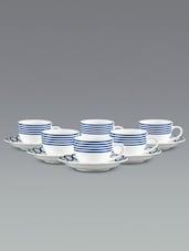 Stripe Border Saucer Tea Cup Set - Clay Craft