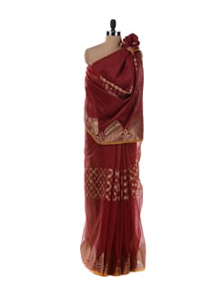 Red Saree With Bold Motifs - Bunkar