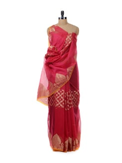 Coral And Gold Saree - Bunkar