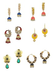 multi colored metal alloy earrings, set of 6 pair of earrings -  online shopping for earrings