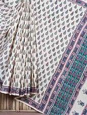 Floral Print Pallu Cotton Saree - Fab Rajasthan