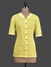 Yellow Button-Up Sleeves Cotton Top - Titch Button