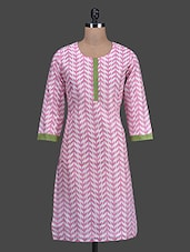 Printed Round Neck Chanderi Cotton Kurti - Titch Button