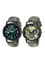 grey leather printed analouge wrist watch (set of 2) -  online shopping for Analog Watches