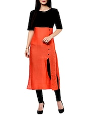Orange Black Color Block Cotton Kurta - By