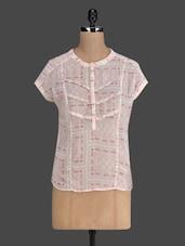 Printed Sheer Cap Sleeved  Georgette Top - Myaddiction