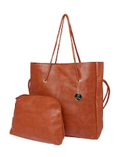 solid brown leatherette tote -  online shopping for Totes