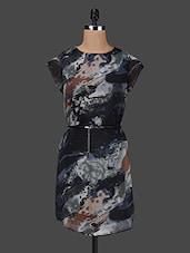 Printed Round Neck Polyester Dress - Purplicious