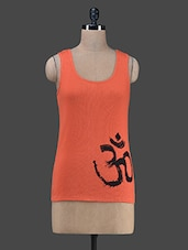 "Orange ""Om"" Printed Tank Top - Vrtya"