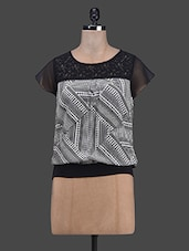 Lace Yoke Printed Polyester Top - RUTE