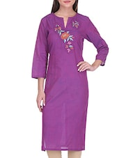 Purple Cotton Embroidered Kurta - By